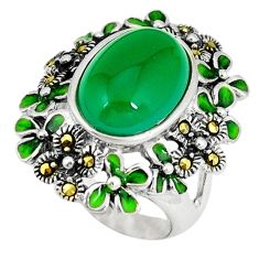 Natural green chalcedony marcasite enamel 925 silver ring size 6.5 c21509