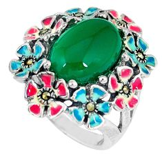 Natural green chalcedony marcasite enamel 925 silver ring size 6 c21495