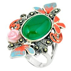 6.60cts natural green chalcedony marcasite 925 silver ring size 8.5 c18571