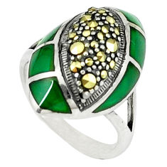 5.97cts natural green chalcedony marcasite 925 silver ring size 6.5 c18754