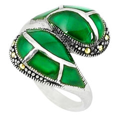 5.11cts natural green chalcedony marcasite 925 silver ring size 6.5 c18673