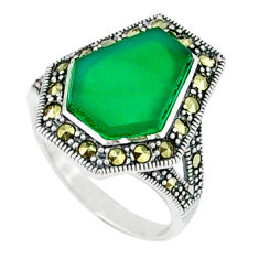 4.53cts natural green chalcedony marcasite 925 silver ring size 5.5 c18695