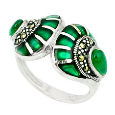 4.92cts natural green chalcedony marcasite 925 silver ring size 6.5 c18677