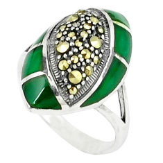 5.31cts natural green chalcedony marcasite 925 silver ring size 7.5 c18753