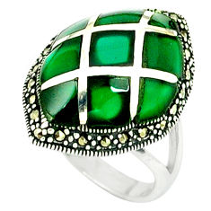 4.22cts natural green chalcedony marcasite 925 silver ring size 6.5 c18742
