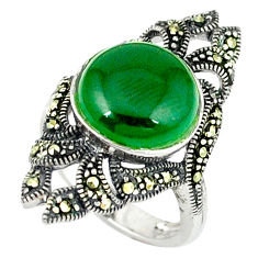 5.27cts natural green chalcedony marcasite 925 silver ring size 5.5 c18642