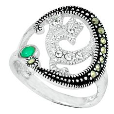 1.00cts natural green chalcedony marcasite 925 silver ring size 5.5 c17627