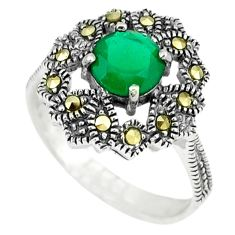 1.64cts natural green chalcedony marcasite 925 silver ring size 8.5 c17431