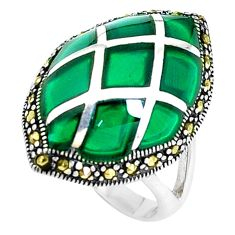 6.70cts natural green chalcedony marcasite 925 silver ring size 5.5 c16354