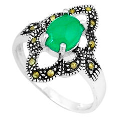 Natural green chalcedony marcasite 925 silver ring jewelry size 6.5 c17650