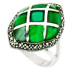 Natural green chalcedony marcasite 925 silver ring jewelry size 8.5 c16326