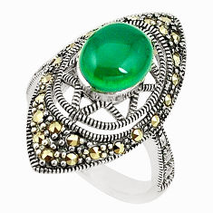 Natural green chalcedony marcasite 925 silver ring jewelry size 6.5 c17413