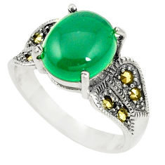 Natural green chalcedony marcasite 925 silver ring jewelry size 9.5 c17337