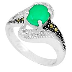 Natural green chalcedony marcasite 925 sterling silver ring size 6.5 c17653