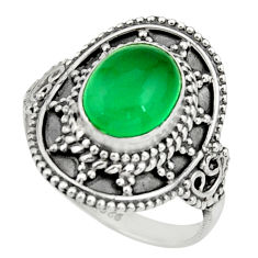 3.50cts natural green chalcedony oval 925 silver solitaire ring size 6.5 r26763