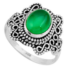 3.11cts natural green chalcedony oval 925 silver solitaire ring size 7.5 r26981