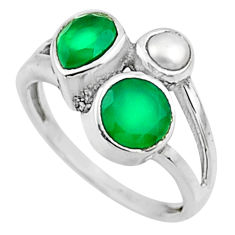 3.73cts natural green chalcedony pearl 925 sterling silver ring size 7 r54501