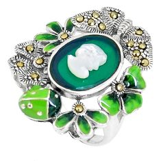 Natural green chalcedony pearl enamel 925 silver lady face ring size 6.5 c16247
