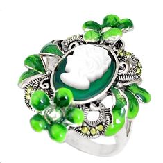 Natural green chalcedony pearl enamel 925 silver lady face ring size 7.5 c21405
