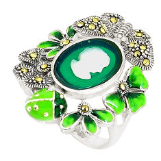 Natural green chalcedony pearl enamel lady face 925 silver ring size 6 c21406