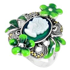 Natural green chalcedony pearl lady face 925 silver flower ring size 6.5 c16258