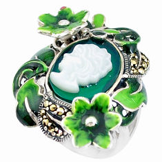 Natural green chalcedony pearl lady face 925 silver flower ring size 5.5 c21404