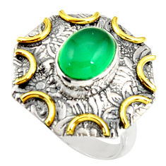3.28cts natural green chalcedony silver 14k gold solitaire ring size 6.5 r37262