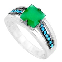 Natural green chalcedony sleeping beauty turquoise 925 silver ring size 6 c23431
