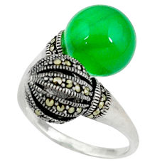 Natural green chalcedony 925 sterling silver adjustable ring size 7 c17471