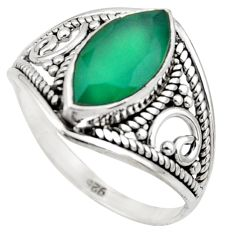 5.09cts natural green chalcedony sterling silver solitaire ring size 8.5 r35305
