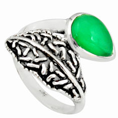 2.34cts natural green chalcedony sterling silver solitaire ring size 6.5 r36921