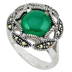 Natural green chalcedony swiss marcasite 925 silver ring size 8.5 c17605