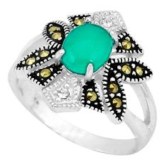 Natural green chalcedony swiss marcasite 925 silver ring size 6.5 c17644