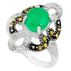 Natural green chalcedony swiss marcasite 925 silver ring size 6.5 c22088