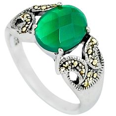 Natural green chalcedony swiss marcasite 925 silver ring jewelry size 8 c22974