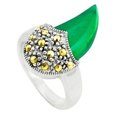 Natural green chalcedony swiss marcasite 925 silver ring size 6 c17339