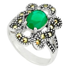 Natural green chalcedony swiss marcasite 925 silver ring size 7 c17362