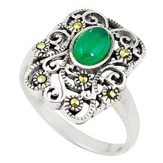 Natural green chalcedony swiss marcasite 925 silver ring size 9 a60511 c15453