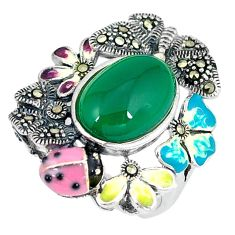 Natural green chalcedony swiss marcasite enamel 925 silver ring size 5.5 c21508