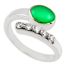 3.56cts natural green chalcedony topaz 925 silver adjustable ring size 8 r54568