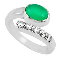 3.36cts natural green chalcedony topaz 925 silver adjustable ring size 9 r73414