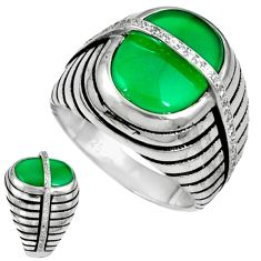 Natural green chalcedony topaz 925 silver mens ring jewelry size 8.5 c11356
