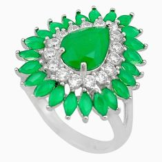 Natural green chalcedony topaz 925 sterling silver ring size 6.5 c19206