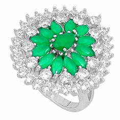 8.42cts natural green chalcedony topaz 925 sterling silver ring size 6.5 c19976