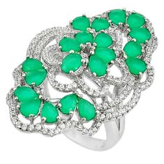 Natural green chalcedony topaz 925 sterling silver ring size 5 c22320