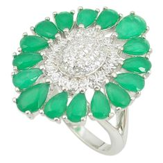 Natural green chalcedony topaz 925 sterling silver ring size 6 c19965