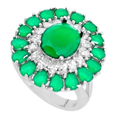 9.14cts natural green chalcedony topaz 925 sterling silver ring size 7 c19207