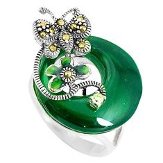 Natural green chalcedony topaz enamel 925 silver butterfly ring size 6.5 c22961
