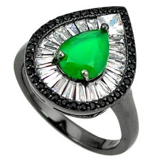 Natural green chalcedony topaz rhodium 925 sterling silver ring size 8 c19265