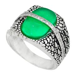 Natural green chalcedony white topaz 925 silver mens ring size 9 c11527